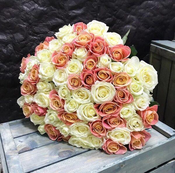 Букет из 51 Российской розы 60см