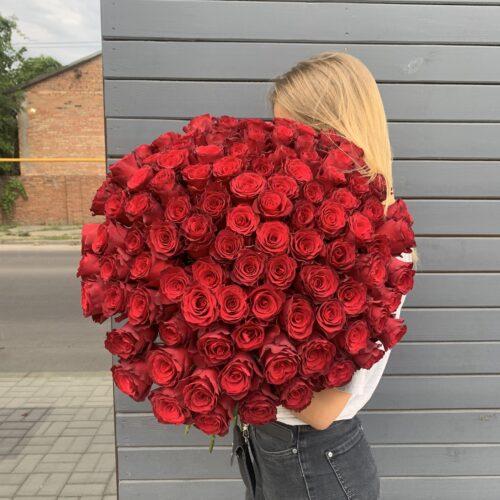 Букет из 101 голландской розы 70см