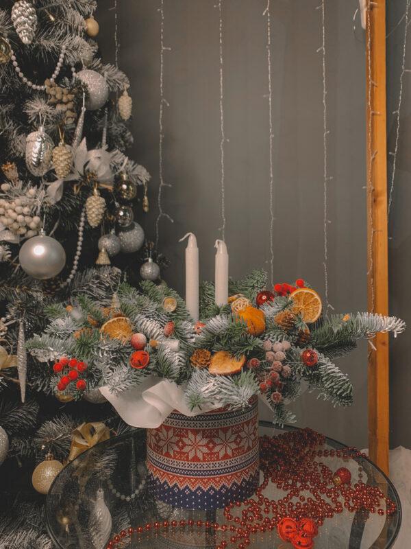 Композиция «Зимние узоры» со свечами