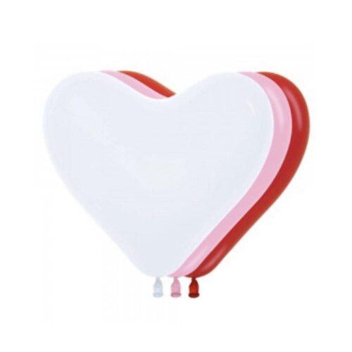 Шар 12″/30см Сердце красный/белый/розовый